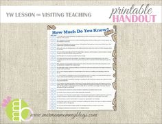 printables, church, young women, mommi printabl, mormon mommi