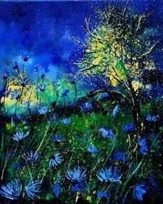 "Wow...never heard of this artist...Pol Ledent; Oil, 2012, Painting ""Wild cornflowers 452"""