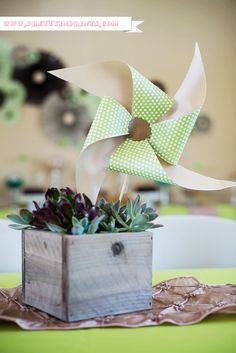 DIY pinwheels in succulents as a table centerpiece for a #babyshower