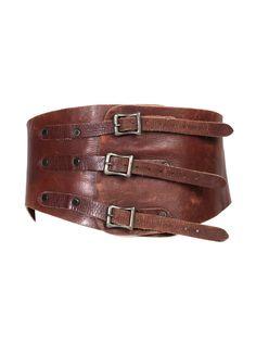 Industry Vintage Wide Brown Leather Belt - Industry Vintage