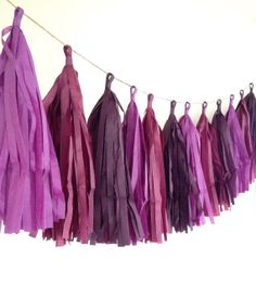 Berry Sangria ... tissue paper tassel garland // nursery // wedding decorations // birthdays // party decorations on Etsy, $30.00