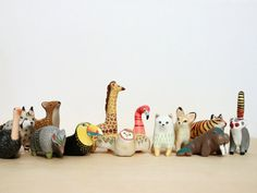 Hand painted animals in polymer clay