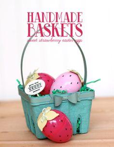 turn plastic easter eggs into cute strawberries