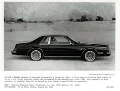 1982 Chrysler Imperial Press Release