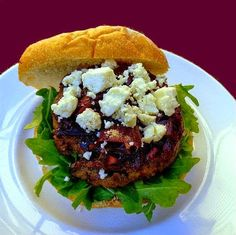 Flat Iron Burgers with Onion Marmalade, Blue Cheese and Arugula