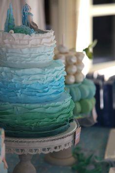 ombre #beach #wedding cake