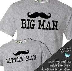Matching popular mustache big man shirt little man tshirt or onesie gift set on Etsy, $34.50