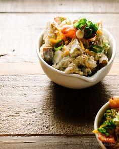 fulled loaded baked potato salad recipe - www.iamafoodblog.com #potatosalad #bakedpotato #bacon #recipe