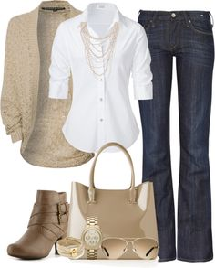 Cute casual attire. jean, sweater, cloth, style, white shirts, fall outfit, work outfit, casual fridays, fashion designers