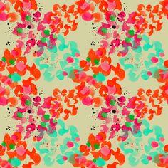 Hortenias pattern in orange by moniquilla  www.moniquilla.com