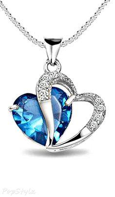 Diamond  Sapphire Heart Necklace