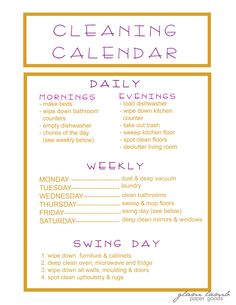 I love the cleaning calendar I just made :)    #cleaning #organizing #cleaningschedule