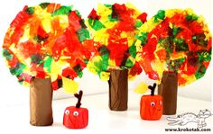 décor d'automne (collage papier toilette et assiettes en carton)