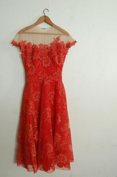 Vintage 1950's Spiced Orange Dress- beautiful!