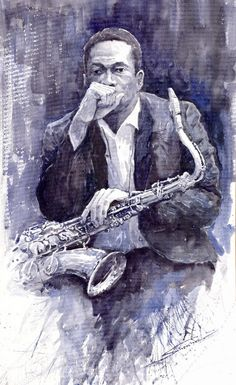 "Saatchi Online Artist: Yuriy Shevchuk; Watercolor, 2011, Painting ""Jazz Saxophonist John Coltrane"""
