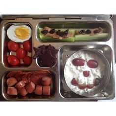 Boiled farm egg, cherry tomatoes, pepperoni and Applegate Hot dog, Ants on a Log, cottage cheese with grapes, and fruit leather stars!