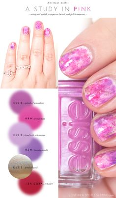 Abstract nails: a study in pink   from lostinaspotlessmind.com