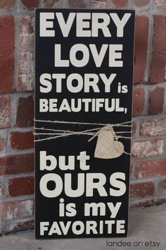 Love Story Wooden & Burlap Sign