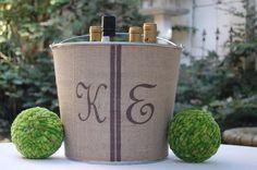 at home, champagne, burlap bucket, buckets, rustic weddings, burlap decorations, homes, wedding monograms, crafts