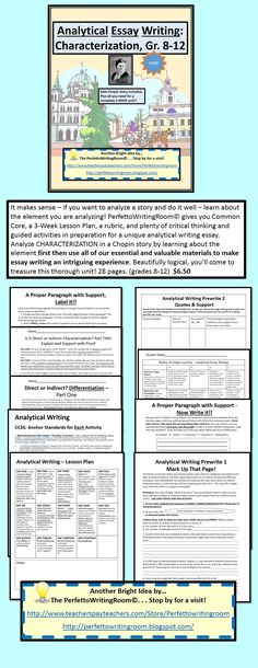 $6.50 (gr 8-12) If you need a thorough analytical essay writing product - here it is. Intro to finished product with lesson plan, rubric, CCSS, and activities along the way.