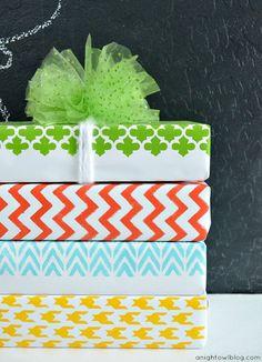 DIY Stenciled Wrapping Paper with #MarthaStewartCrafts #12MonthsofMartha