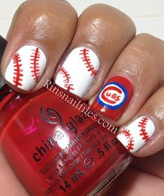 Rin's Nail Files: Chicago Cubs Nail Design..... Cincinnati Red, Texas Rangers, Nails File, Rin Nails, Chicago Cubs, Cubs Nails, Baseball Seasons, Cardinals Nails Design, Baseball Nails Design