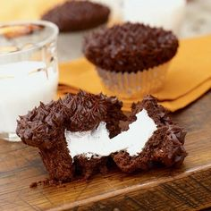 Devil's Food Cupcakes with Marshmallow Filling #cupcakes #cupcakeideas #cupcakerecipes #food #yummy #sweet #delicious #cupcake