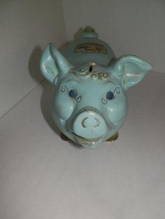 Chalkware Piggy Bank, Vintage Carnival Prize