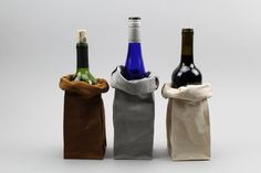 The Connor Wine Bag // TRIO of Waxed Canvas Wine by ItalicHome