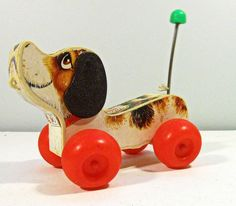 vintage toy DOG Little Snoopy - wood pull toy - Fisher Price - 1960s via Etsy