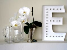 Marquee letter lamp (made of foam core and LED holiday lights!)
