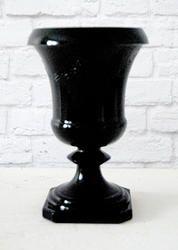 Elegant VASE URN in Black with embossed swags