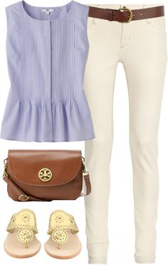#Polyvore #fashion #clothes #style #outfit #top #pants #handbag #sandals #shoes #cute