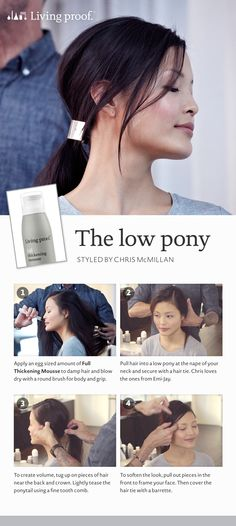Learn how to get The Low Pony look courtesy of Living Proof #howto #getthelook #hair #hairstyles #ponytails #livingproof #Sephora