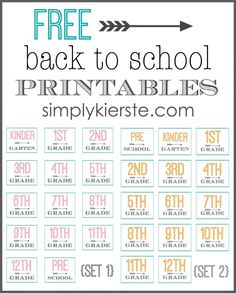 free back to school printables.  Love these! #school #printables