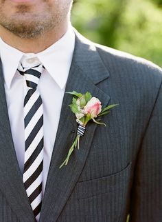 dapper stripes for the groom - check out the cute bout too!