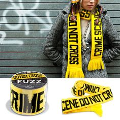 FRED & FRIENDS FUZZ CRIME SCENE SCARF Do Not Cross Yellow Black Police humor