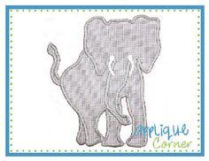 Elephant Silhouette with Tusks Applique Design