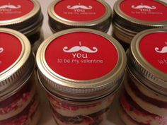 Cupcakes In A Jar-Mason Jars-Valentine's Day-Valentine's Day Sweets-I Mustache You to be My Valentine-Mustache Love-Care Package