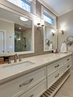 mirror, transom windows, vaniti, bathrooms, bathroom designs, master baths, homes, subway tiles, glass tiles