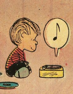 i think this would make an adorable tattoo for a music fan...Linus is not the musician but look how content he is listening to it...