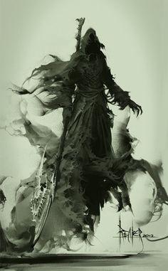 fantasi, 3d character, concept art, death, digital art, greek gods, dark, grim reaper, demon