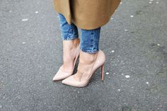 Nude Loubis. jean, tattoo placements, nude shoes, feet tattoos, heel, small tattoos, pump, christian louboutin, coat