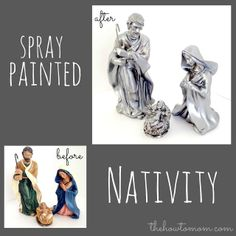 spray painted nativity set.