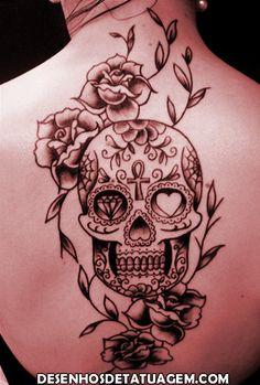 desenhos de tattoo caveira com flores - Pesquisa Google