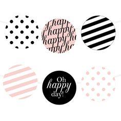 Free Printable Happy Stripes Garland | Printable Party Decor #freeprintable #party #partyprintable