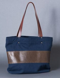 A classic tote- canvas & leather stripe tote bag