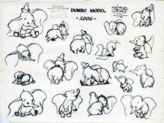 character sketches, dumbo sketch
