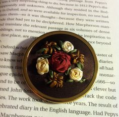Burgundy and Cream Embroidered Rose Brooch  by BeanTownEmbroidery, silk ribbon embroidery