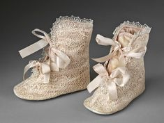 Vintage baby boots from the Museum of Childhood, Babies Gallery, via V Museum.